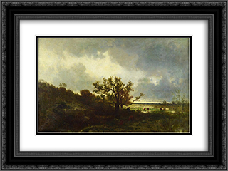 Landscape with Oaktree 24x18 Black or Gold Ornate Framed and Double Matted Art Print by Jules Dupre