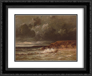 Marine Landscape (The Cape and Dunes of Saint-Quentin) 24x20 Black or Gold Ornate Framed and Double Matted Art Print by Jules Dupre