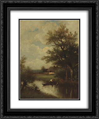 Return of the fisherman 20x24 Black or Gold Ornate Framed and Double Matted Art Print by Jules Dupre