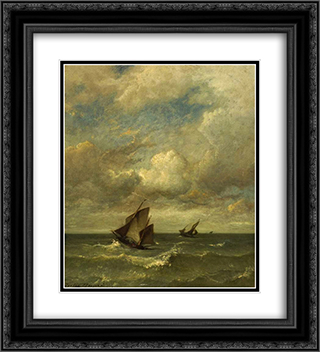 Shipping in a breeze 20x22 Black or Gold Ornate Framed and Double Matted Art Print by Jules Dupre
