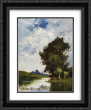Small Floodplain 20x24 Black or Gold Ornate Framed and Double Matted Art Print by Jules Dupre