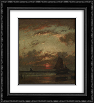 Sunset on the Coast 20x22 Black or Gold Ornate Framed and Double Matted Art Print by Jules Dupre