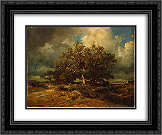 The Old Oak 24x20 Black or Gold Ornate Framed and Double Matted Art Print by Jules Dupre