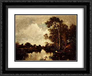 The River 24x20 Black or Gold Ornate Framed and Double Matted Art Print by Jules Dupre