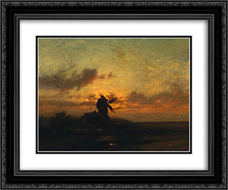 The Windmill 24x20 Black or Gold Ornate Framed and Double Matted Art Print by Jules Dupre