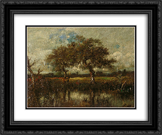 Untitled (Landscape) 24x20 Black or Gold Ornate Framed and Double Matted Art Print by Jules Dupre