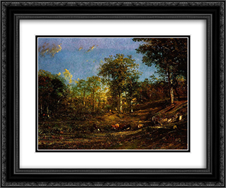 View of the Pastures of the Limousin 24x20 Black or Gold Ornate Framed and Double Matted Art Print by Jules Dupre