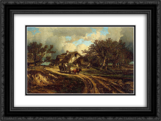 Village Landscape 24x18 Black or Gold Ornate Framed and Double Matted Art Print by Jules Dupre