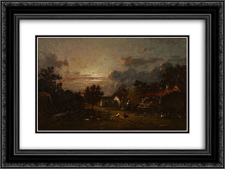Village Scene, Sunset 24x18 Black or Gold Ornate Framed and Double Matted Art Print by Jules Dupre