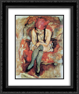 Claudine Resting 20x24 Black or Gold Ornate Framed and Double Matted Art Print by Jules Pascin