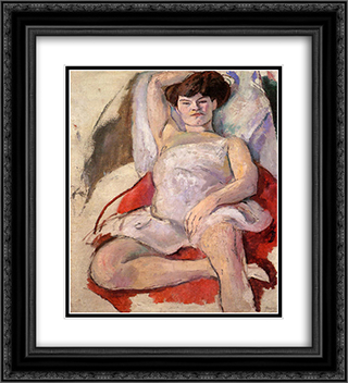 Dancer at the Moulin Rouge 20x22 Black or Gold Ornate Framed and Double Matted Art Print by Jules Pascin