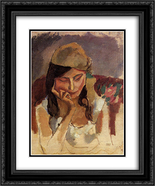 Lady Wearing a Turban 20x24 Black or Gold Ornate Framed and Double Matted Art Print by Jules Pascin