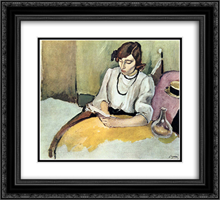Portrait of Hermine David 22x20 Black or Gold Ornate Framed and Double Matted Art Print by Jules Pascin