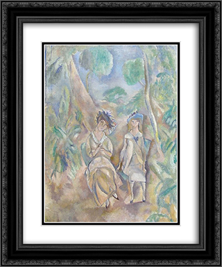 Printemps 20x24 Black or Gold Ornate Framed and Double Matted Art Print by Jules Pascin