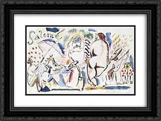 Salome 24x18 Black or Gold Ornate Framed and Double Matted Art Print by Jules Pascin