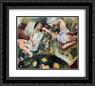 Siesta 22x20 Black or Gold Ornate Framed and Double Matted Art Print by Jules Pascin