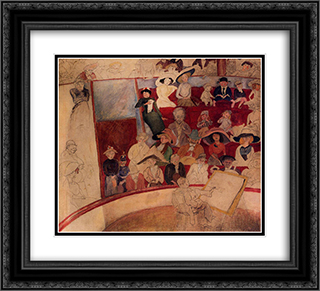 The Circus 22x20 Black or Gold Ornate Framed and Double Matted Art Print by Jules Pascin