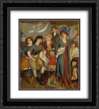 The Turkish Family 20x22 Black or Gold Ornate Framed and Double Matted Art Print by Jules Pascin