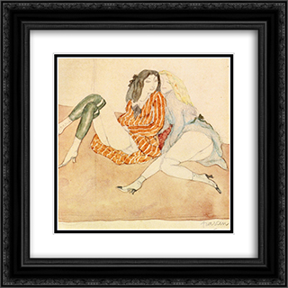 Two Girls on the Ground 20x20 Black or Gold Ornate Framed and Double Matted Art Print by Jules Pascin