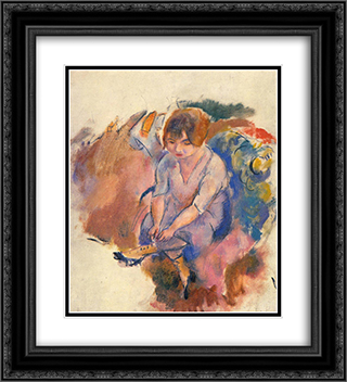 Young Woman Putting on Her Socks 20x22 Black or Gold Ornate Framed and Double Matted Art Print by Jules Pascin