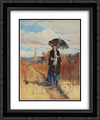 A solitary ramble 20x24 Black or Gold Ornate Framed and Double Matted Art Print by Julian Ashton