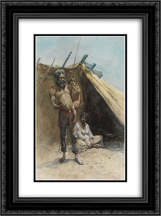 Aboriginal family group 18x24 Black or Gold Ornate Framed and Double Matted Art Print by Julian Ashton
