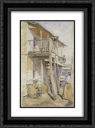 Back of old house, Clyde St Miller's Point 18x24 Black or Gold Ornate Framed and Double Matted Art Print by Julian Ashton