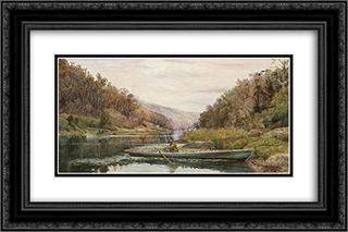 Boatman on the Hawkesbury River, at Cole and Candle Creek, near Akuna Bay 24x16 Black or Gold Ornate Framed and Double Matted Art Print by Julian Ashton