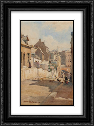 Cambridge St., looking towards the Argyle Cut 18x24 Black or Gold Ornate Framed and Double Matted Art Print by Julian Ashton