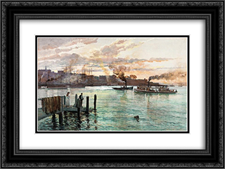 Circular Quay, Sydney 24x18 Black or Gold Ornate Framed and Double Matted Art Print by Julian Ashton