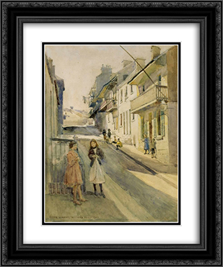 Clyde St, Miller's Point 20x24 Black or Gold Ornate Framed and Double Matted Art Print by Julian Ashton