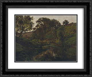 Evening, Merri Creek 24x20 Black or Gold Ornate Framed and Double Matted Art Print by Julian Ashton