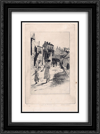Gloucester Street, The Rocks, Sydney 18x24 Black or Gold Ornate Framed and Double Matted Art Print by Julian Ashton