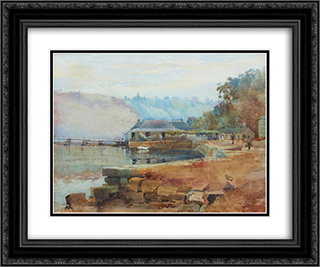 Mosman's Bay 24x20 Black or Gold Ornate Framed and Double Matted Art Print by Julian Ashton