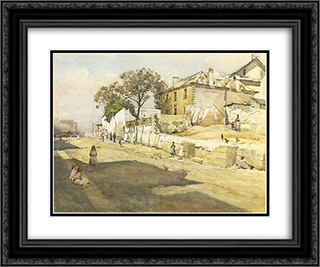 Old houses, Cumberland Street 24x20 Black or Gold Ornate Framed and Double Matted Art Print by Julian Ashton