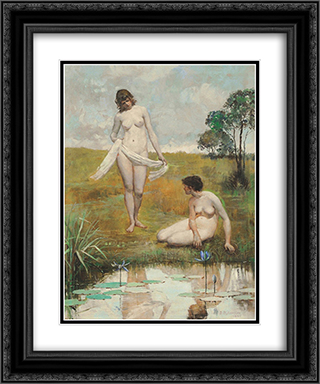 Reflections 20x24 Black or Gold Ornate Framed and Double Matted Art Print by Julian Ashton