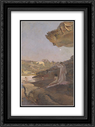 Tamarama Beach, forty years ago, a summer morning 18x24 Black or Gold Ornate Framed and Double Matted Art Print by Julian Ashton