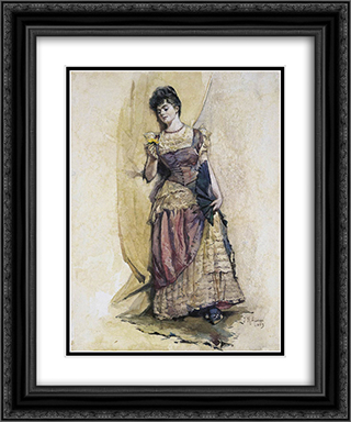 The Ball Dress 20x24 Black or Gold Ornate Framed and Double Matted Art Print by Julian Ashton