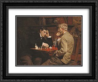 The Chess Game 24x20 Black or Gold Ornate Framed and Double Matted Art Print by Julian Ashton