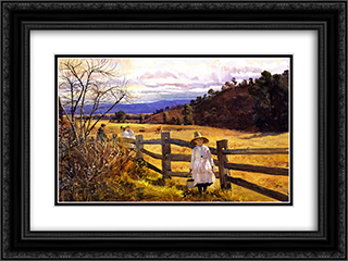 The Corner of the Paddock 24x18 Black or Gold Ornate Framed and Double Matted Art Print by Julian Ashton