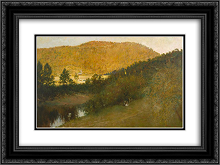 The everlasting hills 24x18 Black or Gold Ornate Framed and Double Matted Art Print by Julian Ashton