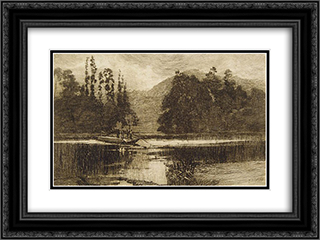 The ferry 24x18 Black or Gold Ornate Framed and Double Matted Art Print by Julian Ashton
