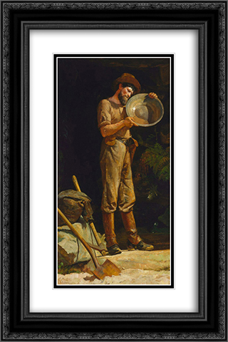 The prospector 16x24 Black or Gold Ornate Framed and Double Matted Art Print by Julian Ashton