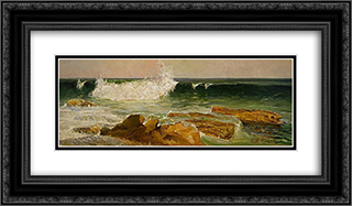 The wave 24x14 Black or Gold Ornate Framed and Double Matted Art Print by Julian Ashton
