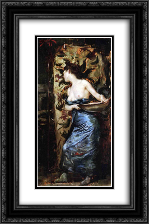 Half Naked Woman 16x24 Black or Gold Ornate Framed and Double Matted Art Print by Julius LeBlanc Stewart