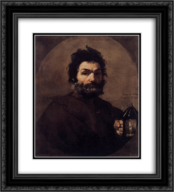Diogenes 20x22 Black or Gold Ornate Framed and Double Matted Art Print by Jusepe de Ribera