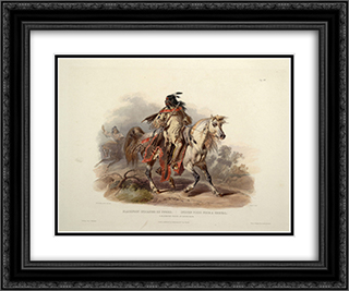 A Blackfoot Indian on Horseback, plate 19 from Volume 1 of 'Travels in the Interior of North America' 24x20 Black or Gold Ornate Framed and Double Matted Art Print by Karl Bodmer