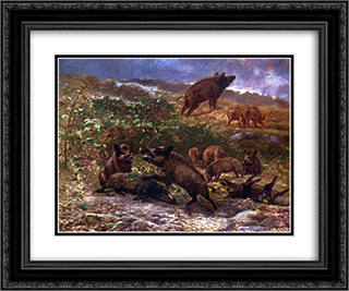 A Family of Wild Boar 24x20 Black or Gold Ornate Framed and Double Matted Art Print by Karl Bodmer