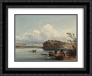 A Mandan village, plate 16 from Volume 1 of 'Travels in the Interior of North America' 24x20 Black or Gold Ornate Framed and Double Matted Art Print by Karl Bodmer