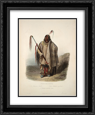 A Minatarre or Big bellied indian, plate 17 from Volume 2 of 'Travels in the Interior of North America' 20x24 Black or Gold Ornate Framed and Double Matted Art Print by Karl Bodmer